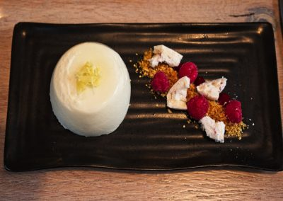 Chef Peter Mundy at the Ginger Peanut, Bampton Devon - www.GingerPeanut.co.uk - Apple & Rosewater Panna Cotta, candied Ginger, Praline (DSCF4821- 720 web