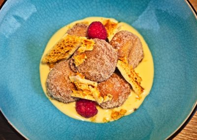 Chef Peter Mundy at the Ginger Peanut, Bampton Devon - www.GingerPeanut.co.uk - Dark Chocolate Beignets, Cinnamon Sugar, Passionfruit Crème Anglaise DSCF4796- 720 web