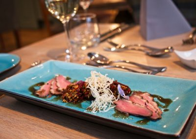 Chef Peter Mundy at the Ginger Peanut, Bampton Devon - www.GingerPeanut.co.uk - Home smoked Five spiced Creedy Carver Duck Breast, Oriental Salad, crispy Vermicelli, Hoi Sin & Ginger drizzle DSCF4749- 720 web