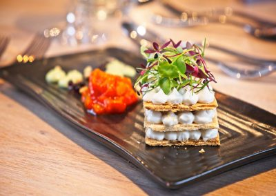 Chef-Peter-Mundy-at-the-Ginger-Peanut,-Bampton-Devon---www.GingerPeanut.co.uk---Mille-Feuille-of-Puff-Pastry,-Vulscombe-Goats-Cheese,-fire-roasted-Pepper-Compote-720-web3